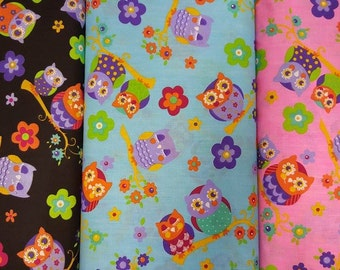 Owl fabric, three colours available