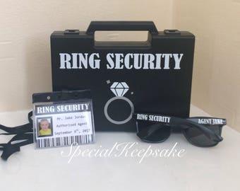 Ring Security Black Box Briefcase Sunglasses Agent Badge Ring Bearer Page Boy Bridesmaid Usher Best Man Bride Groom Wedding Wooden Toy Gun