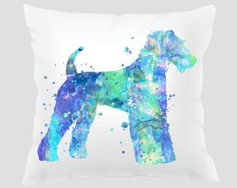Watercolor Airedale Terrier #2 Throw Pillow, Watercolor Airedale Terrier Pillow, Pillow Cover, Accent Pillow, Nursery Decor