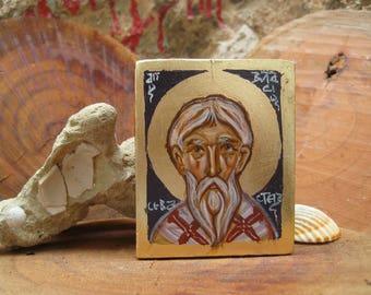 Saint Blasius or St Blaise  Bishop of Sebaste Armenia Carry on icon, keepsake miniature painting eggtempera on wood