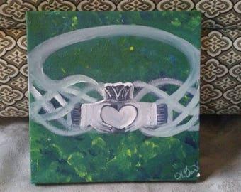 Irish Claddagh Ring Acrylic Painting on Canvas