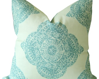 Mani Aqua - Hand Blocked Pillows - Blue Pillow Covers - Decorative Pillow Cover - LUMBAR Pillows - 18x18 - 20x20 Pillows - Linen Pillows