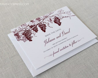 Printed Grapevine Save the Dates, Vineyard Wedding Save the Dates, Winery Save the Dates, Wine Country Wedding, Grapes Save the Dates