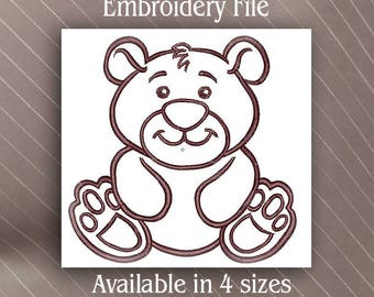 Baby Bear Machine Embroidery design file pattern outline only
