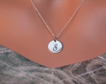 Sterling Silver Cursive Circular S Initial Charm Necklace, Cursive S Initial Necklace, Large S Letter Necklace, S Necklace, S Charm Necklace