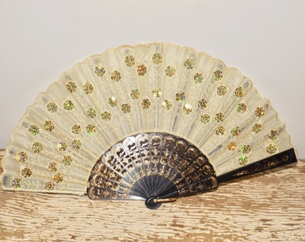 Lace and sequined hand fan,black,gold,embroidered,scalloped edges,folding hand fan,wedding day,gold scrolling,