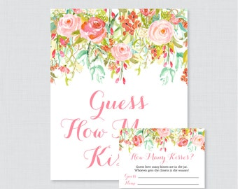 Guess How Many Kisses Bridal Shower Game - Printable Floral Bridal Shower Kisses Guessing Game - Pink and Gold Garden Kisses Guess Game 0004