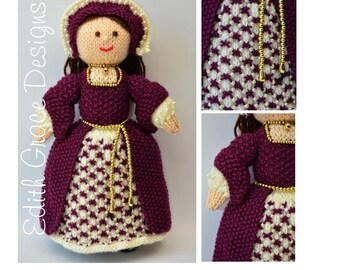 Tudor Doll Knitting Pattern - King Henry VIII Doll - Toy Knitting Pattern - PDF Knitting Pattern
