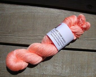 "Hand Dyed Yarn 50/50 SW Merino-Silk Sock Weight ""Coral"""