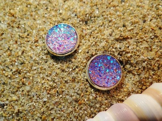 Purple Mauve Faux Druzy Studs Stud Earrings Drusy Geode Iridescent AB Angel Aura Quartz Titanium Crystal Crystals Mermaid Pagan Wiccan Boho