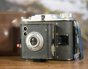 Ansco Flash Clipper Camera with Leather Case #O82