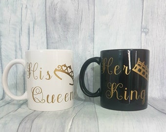 Matching his and hers mugs, his queen her king gifts