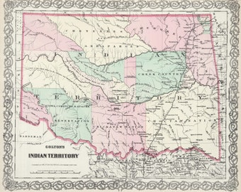 "Original 1874 map of ""Indian Territory"" Oklahoma"