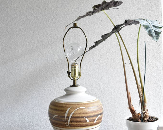 white mid century large studio stoneware pottery table lamp / hand painted flower floral design