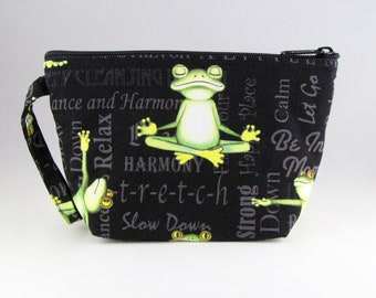 Yoga Frogs Makeup Bag - Accessory - Cosmetic Bag - Pouch - Toiletry Bag - Gift
