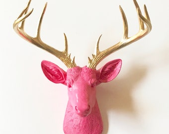 BUBBLE Gum Pink, GOLD, XL Faux Taxidermy Deer Head wall mount, Faux Deer Head, Deer Head Wall Mount, Faux Taxidermy Deer, Stag Head Decor