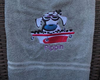 Personalised dog towel, humourous dog towel, pampered dog towel, funny dog towel, dog bath towel, embroidered towel