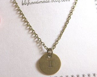 Gemini Necklace Gemini Zodiac Necklace Gemini Jewelry Zodiac Jewelry Astrological Necklace
