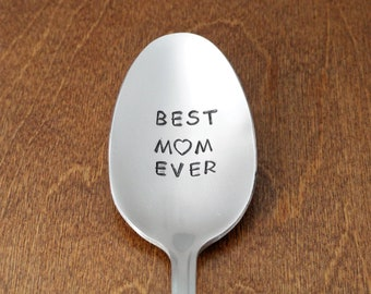 Mother's Day Gifts Best Mom Ever For Mom From Kids Hand Stamped Spoon Easter Gift Unique Birthday Gifts Anniversary Gifts Mom Gift Mom's Day