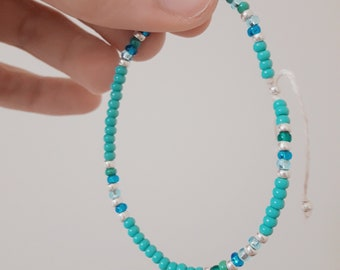 Minimalist Beaded Bracelet - Primarily Turquoise with Silver and Blue Accents