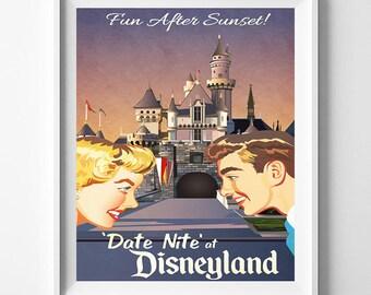 Disneyland Art, Date Nite, Disneyland Vintage, Disney Poster, Disneyland Print, Disney Vintage, Disneyland Poster, Artwork, Mothers Day Gift