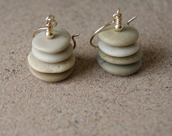Beach Stone Cairn Earrings with Gold Filled Earwires