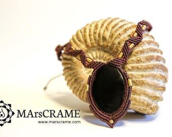 ALANA. Macrame necklace Obsidian, Macrame necklace, macrame jewelry, healing necklace, micromacrame, gemstone necklace, Obsidian necklace