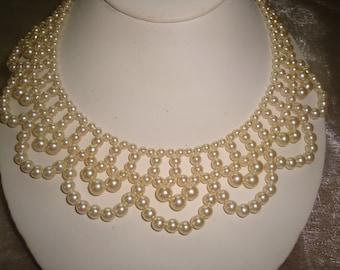 Pretty Princess Scalloped Faux Pearl Choker Collar Necklace