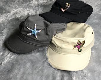 Organic cotton hats!!! decorated with beautiful brooches... for women