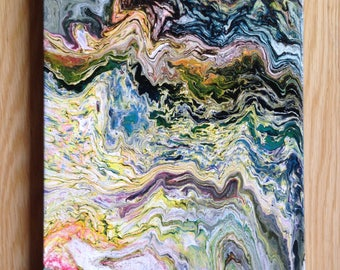 Inspiration: Original Abstract Acrylic painting. Fluid Art. Pouring on canvas 25.8x20cm.