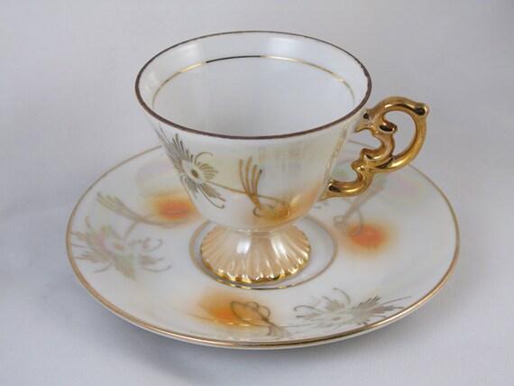 Set of 6 vintage hand painted demitasse cup & saucer, porcelain, china, bone china, tea,coffee, lusterware, high tea, tea party, shabby chic