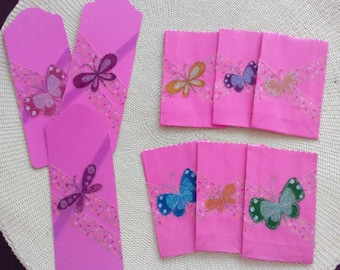 Embellished Tiny Gift Bags (6) with Matching Tags/Bookmarks (3) -- Item 2018-92