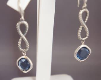 David Yurman Blue Topaz Sterling Silver 925 Infinity Continuance Dangle Drop Earrings