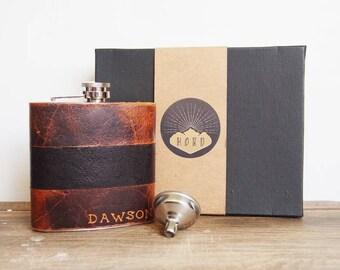Customised Leather Flask, Personalised grooms flask, genuine leather, personalized leather flask