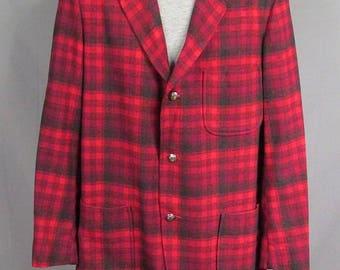 Vintage 1960s Pendleton Wool Shadow Plaid 49er Jacket Disneyland Frontierland M