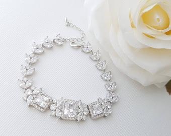Crystal Wedding Bracelet, CZ Bridal Bracelet, Marquise Crystal Bracelet, Square Crystal, Bracelet for Brides, Wedding Jewelry, Laci Bracelet