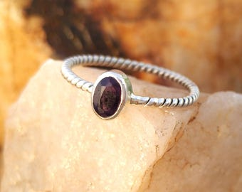 Natural Amethyst Sterling Silver Twisted Band Handmade Ring - 925 Sterling Silver