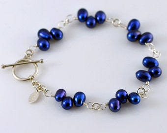Royal Blue Fresh Water Pearl Bracelet - Deep Blue Fresh Water Pearls, Wire Wrapped, Sterling Silver