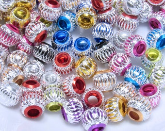 30 Pcs. Big Whole Beads, Acrylic Colored Beads, Metallic and Silver Beads, Wholesale Bead, Jewelry making Beads, Diy Jewelry making Supplies