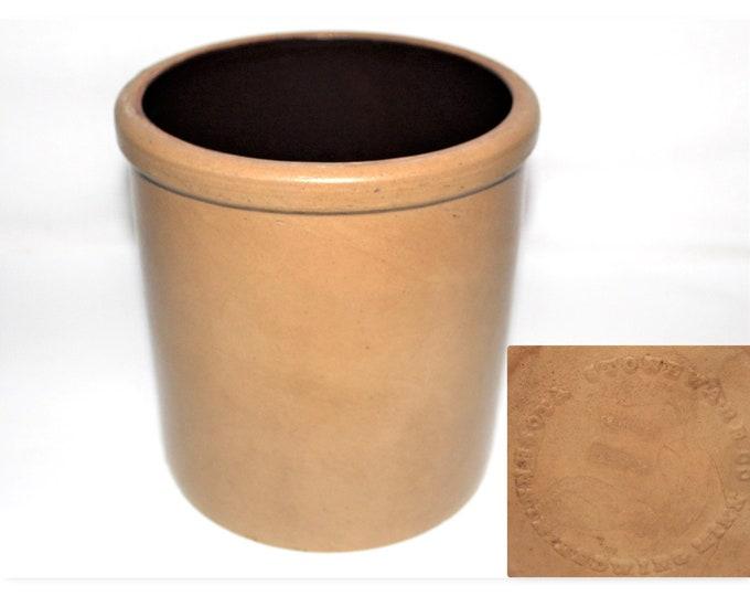 Antique 1880s One Gallon Minnesota Stoneware Salt Glazed Crock