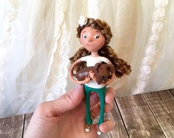 Doxie Girl Wall Art Doll - OOAK