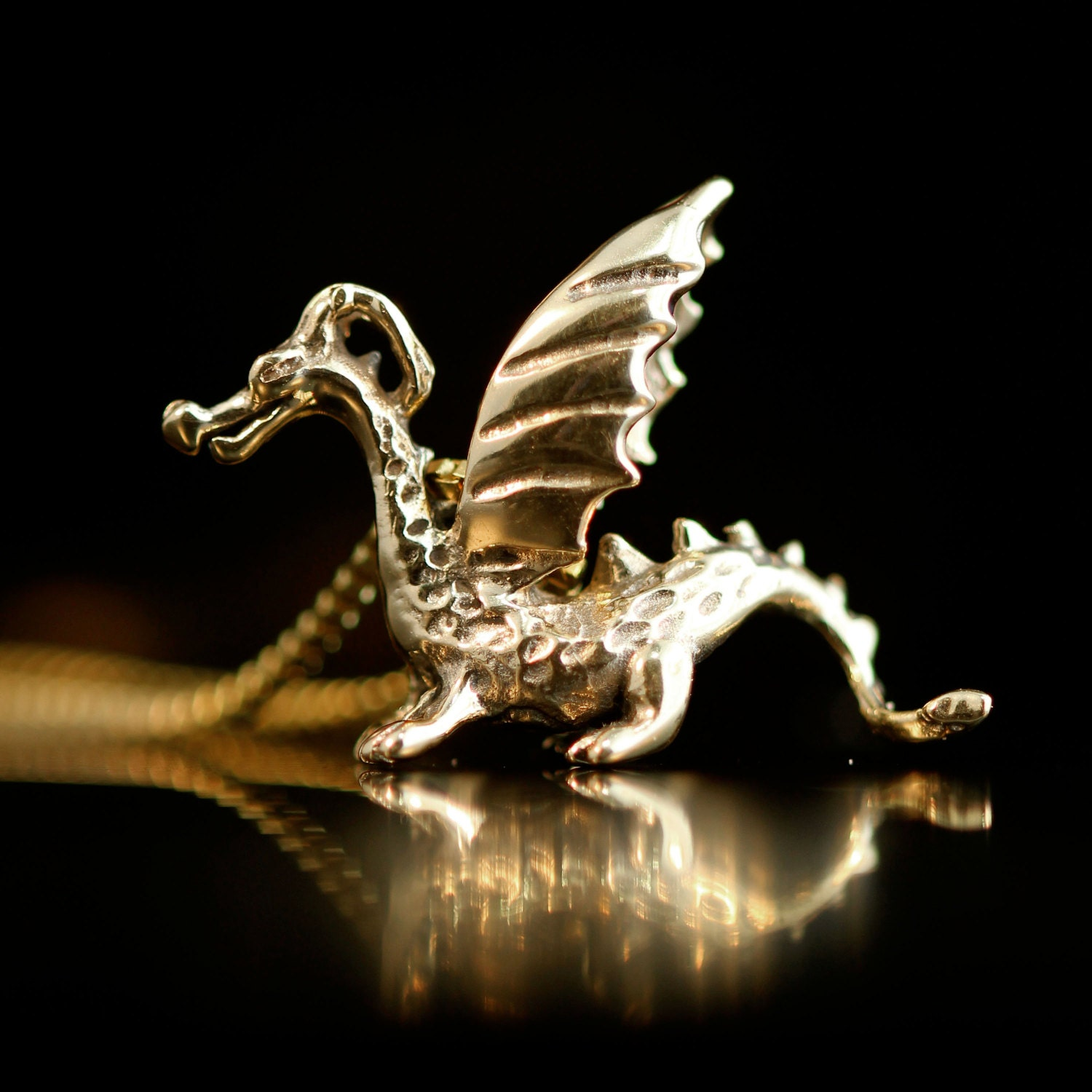 Gold Dragon Necklace 14k Gold Baby Dragon Charm Dragon Pendant