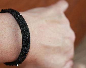 Cuff Bracelet with Swarovski Crystals - Black Colour