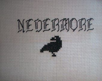 Nevermore Edgar Allan Poe The Raven cross stitch kit