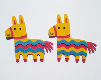 Paper Donkey, Cinco de Mayo, Burro Cutout, Mexican Party, Mexican Fiesta, Donkey Cutout, Die Cut Donkey, Card Making Decor, Set of 4