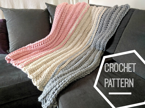 Super Chunky Crochet Blanket Pattern Ribbed Crochet Pattern