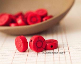 8 Semi Precious 12mm Turquoise Red Howlite Magnesite Sunflower Beads (JN008)
