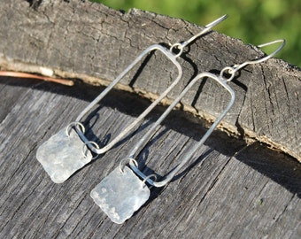 Geometric Sterling Silver Rectangle Earrings