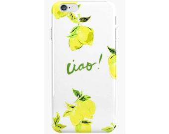 "iPhone X, iPhone 8 Case, iPhone 7 Case  ""Ciao Lemon Print"" {iPhone 6s, iPhone 6 Plus, iPhone 5, iPhone 5c}"