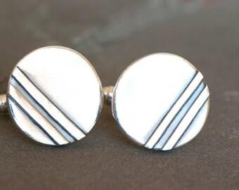Sterling Silver Art Deco Cuff links, Everyday Jewelry, Art Deco Jewelry, Groomsmen Thank You Gifts, Chevron Cufflinks, Striped Cufflinks